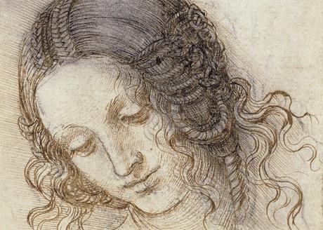 The head of Leda c.1505-6 Leonardo da Vinci.