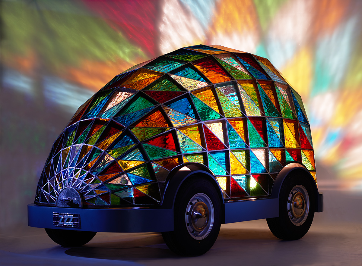 The Stained Glass Driverless Sleeper Car (or mini Cathedral for short). Photo by Sylvain Deleu.