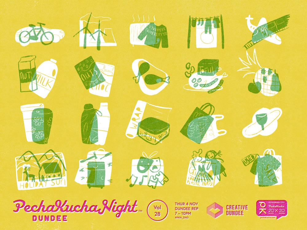 PechaKucha Night Dundee Vol 28 illustration by Daisy MacGowan