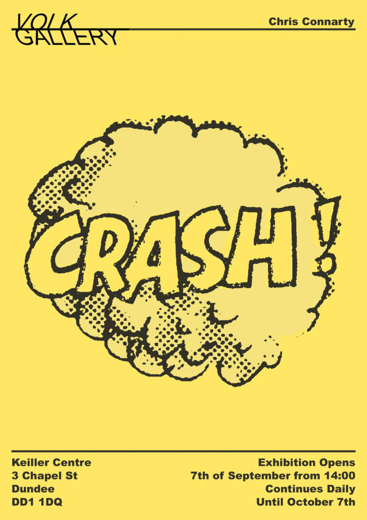 An illustration of the work CRASH - it has a cloud of smoke around it as if it has crashed in to the screen