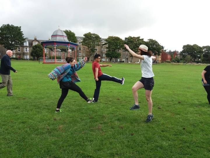 5 people are doing an Improv workshop in Magdalen green